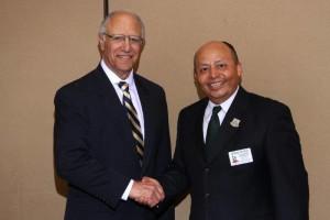Cal-Nev-Ha Division 16 Lt. Governor Jesus Ochoa Installs 2016-2017 Kiwanis Club of Burbank President Charles Chavoor.